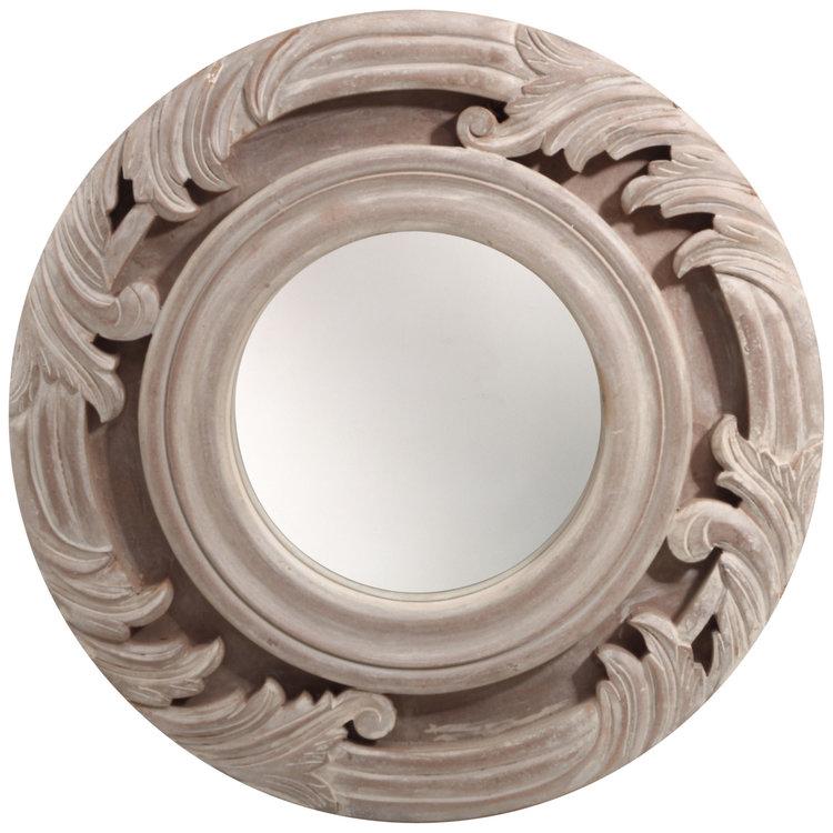 PTMD spiegel rond MDF licht bruin antiek look.669379