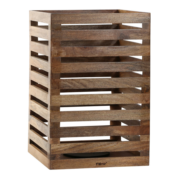 PTMD houten windlicht van mango hout. incl. kaarshouder. 669382
