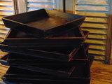 """mooi oud houten Chinees dienblad """"H""""_"""