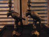 Papegaai kandelaar brons / koper kleur._
