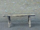 """Sober oud Chinees houten bankje """"D""""_"""