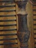 Lamp op houten voetmat, 68 cm hoog