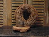 """Oude Nepalese houten bakje """"O"""", 9,5cm"""