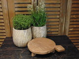 """Oude houten Nepalese Chapati  plate """"I"""" 22cm"""
