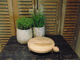 """Oude houten Nepalese Chapati  plate """"K"""" 25cm"""