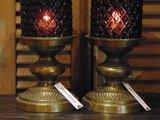 Glazen windlicht met ruitmotief, bronzen voet, 32,5cm