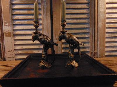 Papegaai kandelaar brons / koper kleur.