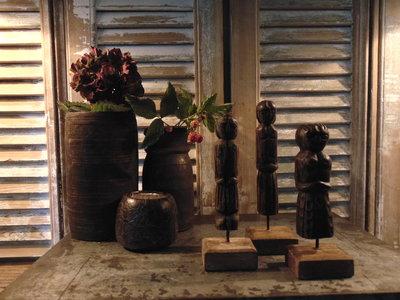Set houten poppetjes uit India (3 stuks)