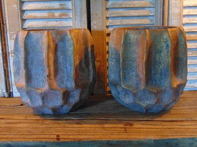 PTMD stenen pot. oud goud/ bronskleur.