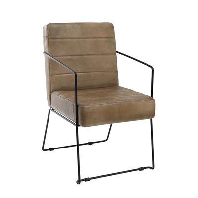 PTMD stoel/ fauteuil leer in beige kleur.