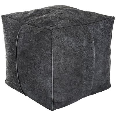 PTMD poef leer donker grijs vierkant.met motief. 656791