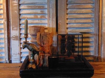 """mooi oud houten Chinees dienblad """"G"""""""