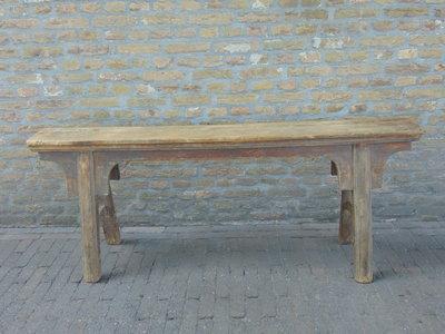 """Sober oud Chinees houten bankje """"F"""""""