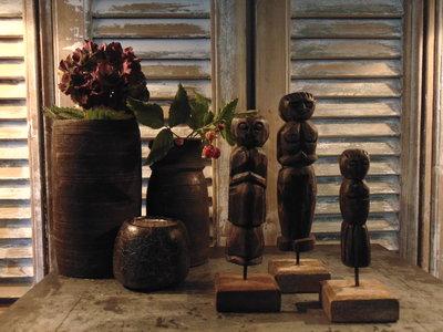 "Set houten poppetjes uit India (3 stuks) ""A"""