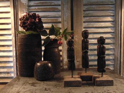 "Set houten poppetjes uit India (3 stuks) ""F"""