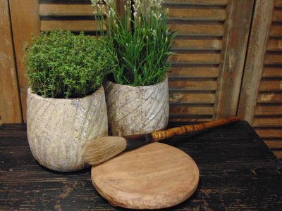 """Oude houten Nepalese Chapati  plate """"H"""" 20cm"""