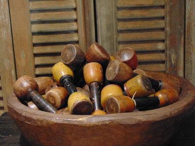 Decoratieve houten Dumbel, 20cm