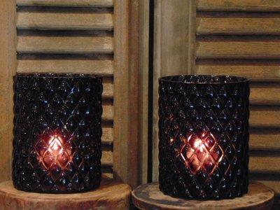 Glazen windlicht met ruitmotief, 16cm